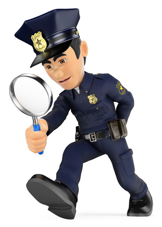 csi: 3d security forces people illustration. Policeman looking with a magnifying glass. Investigation. CSI. Isolated white background.