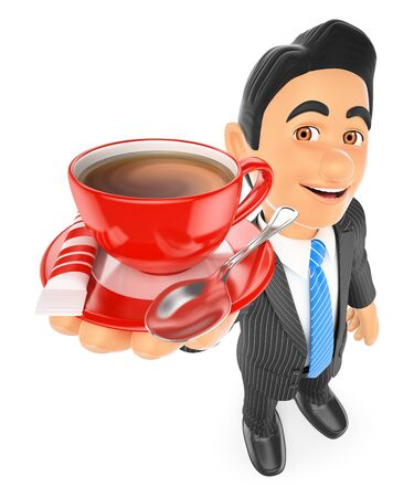 white work: 3d business people illustration. Businessman drinking a cup of coffee with milk. Isolated white background. Stock Photo