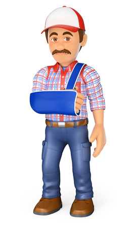 3d working people illustration. Worker with arm in sling. Occupational accident. Isolated white background. Stock Photo
