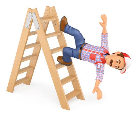 fractura: 3d ilustración de las personas que trabajan. Trabajador que cae de una escalera. accidente de trabajo. fondo blanco aislado.