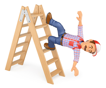 dangerous construction: 3d working people illustration. Worker falling off a ladder. Occupational accident. Isolated white background.