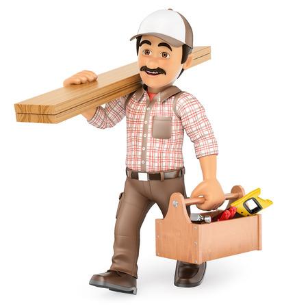 3d werkende mensen illustratie. Carpenter wandelen met houten plank en gereedschapskist. Geïsoleerde witte achtergrond.