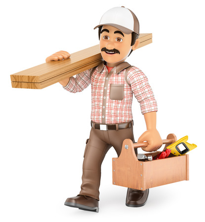craftsmen repair: 3d working people illustration. Carpenter walking with wooden board and toolbox. Isolated white background.