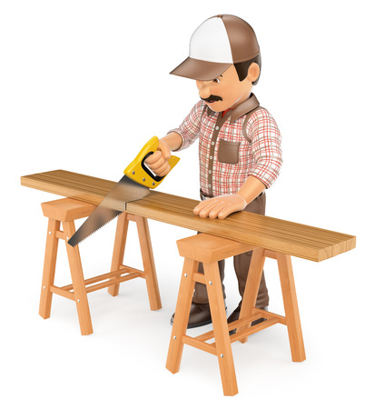 3d working people illustration. Carpenter cutting a wooden board with a saw. Isolated white background.