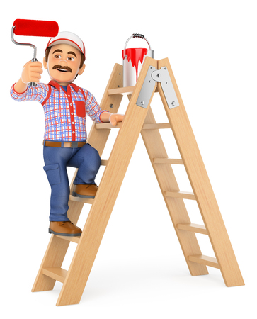 redecorate: 3d working people illustration. Painter working up a ladder with a roller brush. Isolated white background.