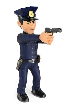 3d security forces people illustration. Policeman aiming a gun. Isolated white background.