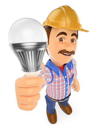3d working people illustration. Electrician with a led light bulb. Isolated white background.