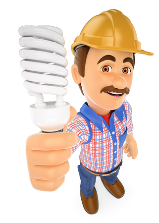electrician: 3d working people illustration. Electrician with a energy saving light bulb. Isolated white background.