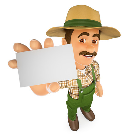 happy farmer: 3d working people illustration. Gardener showing a blank card. Isolated white background.