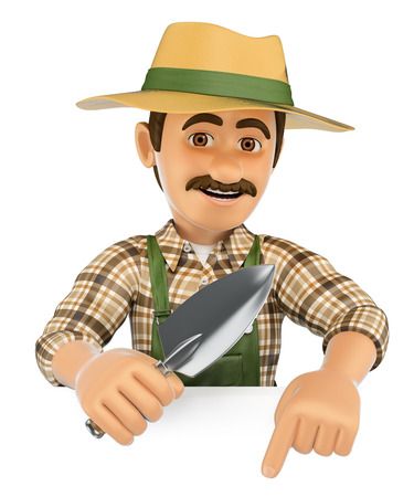 3d working people illustration. Gardener pointing down. Blank space. Isolated white background. Stock Photo