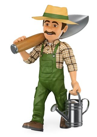 white people: 3d working people illustration. Gardener walking with a huge shovel and a watering can. Isolated white background.