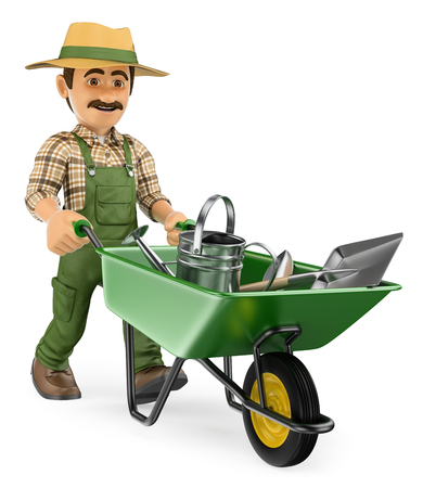 3d working people illustration. Gardener pushing a wheelbarrow with gardener tools. Isolated white background.