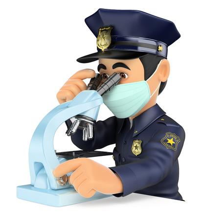 Biopsia: 3d de seguridad obliga a la gente ilustración. policía científica que analizan las pruebas forenses con un microscopio. fondo blanco aislado.