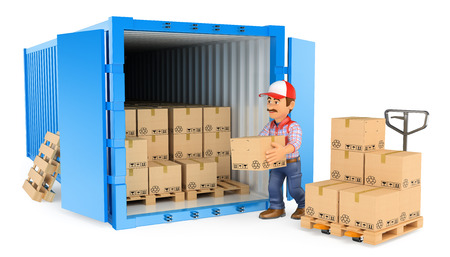 3d working people illustration. Worker loading or unloading a container. Isolated white background. Stock Photo