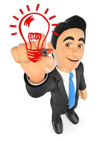 3d business people illustration. Businessman drawing a light bulb. Idea concept. Isolated white background. Stock Photo