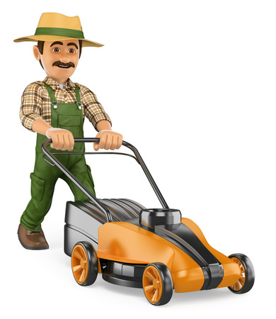 3d working people illustration. Gardener pushing a power mower. Isolated white background.