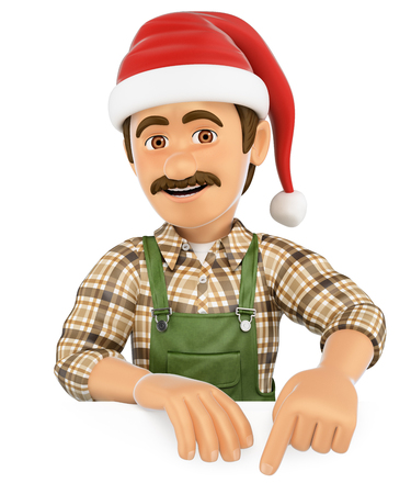 white work: 3d working people illustration. Gardener pointing down with a Santa Claus hat. Blank space. Isolated white background.