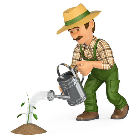 3d working people illustration. Gardener watering a small plant. Growth concept. Isolated white background.