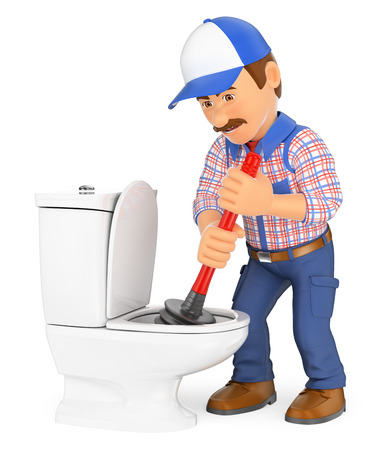 3d working people illustration. Plumber unclogging a toilet with a plunger. Isolated white background.