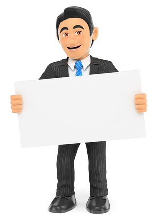 3d business people illustration. Businessman standing with a blank poster. Isolated white background.