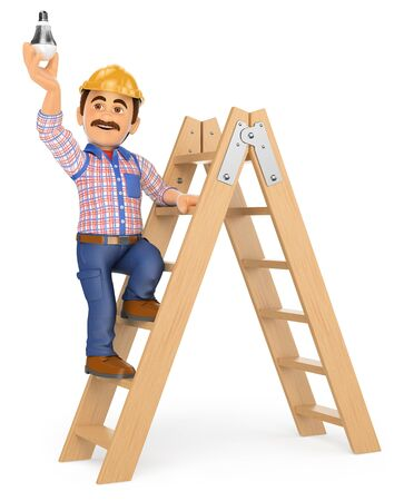 white work: 3d working people illustration. Electrician on a ladder changing a light bulb. Isolated white background. Stock Photo