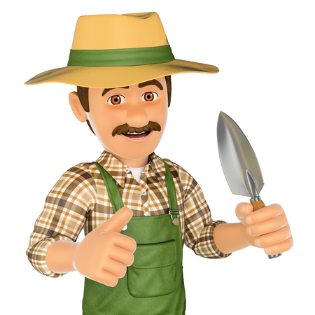 3d working people illustration. Gardener with a small spade. Isolated white background. Stock Photo