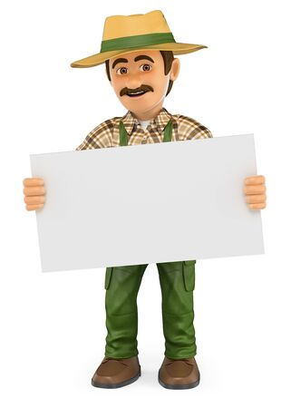 communication: 3d working people illustration. Gardener standing with a blank poster. Isolated white background. Stock Photo