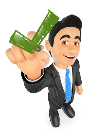 business people: 3d business people illustration. Businessman drawing a green tick. Isolated white background. Stock Photo