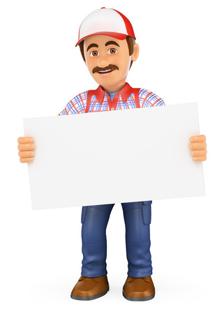 3d working people illustration. Handyman worker standing with a blank poster. Isolated white background.