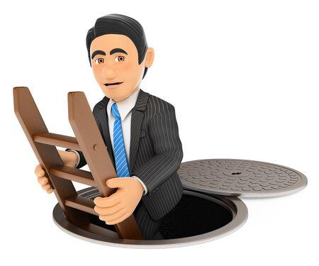 3d ilustración de la gente de negocios. El hombre de negocios de bajar a las alcantarillas. Lado oscuro. fondo blanco aislado.