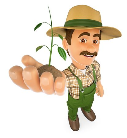 green environment: 3d working people illustration. Gardener with a plant growing in hand. Isolated white background. Stock Photo