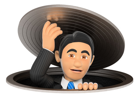 sewer: 3d business people illustration. Businessman leaving a sewer. Metaphor. Isolated white background.
