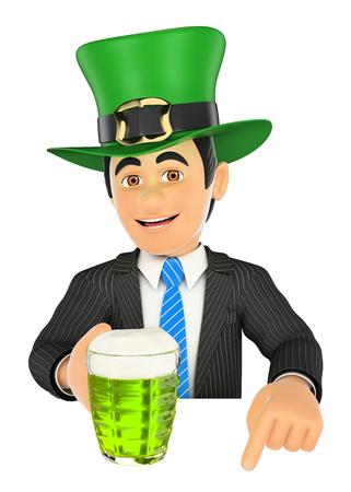 3d ilustración de la gente de negocios. El hombre de negocios que apunta hacia abajo con el sombrero del Día de San Patrick y una cerveza. Espacio en blanco. fondo blanco aislado.