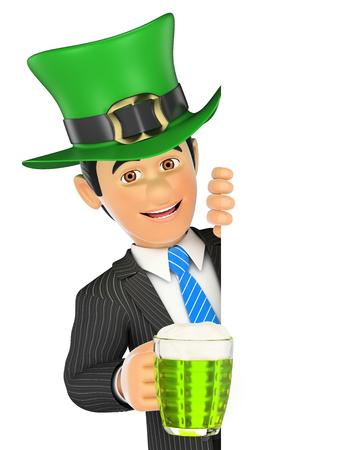 3d ilustración de la gente de negocios. El hombre de negocios señala a un lado con el sombrero del Día de San Patrick y una cerveza. Espacio en blanco. fondo blanco aislado.