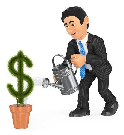 3d ilustración de la gente de negocios. El hombre de negocios de riego dólar planta de maceta con forma. concepto de crecimiento. fondo blanco aislado. Foto de archivo