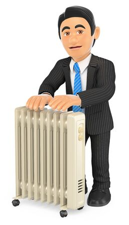 white background: 3d business people illustration. Businessman warming himself with an portable radiator. Isolated white background. Stock Photo