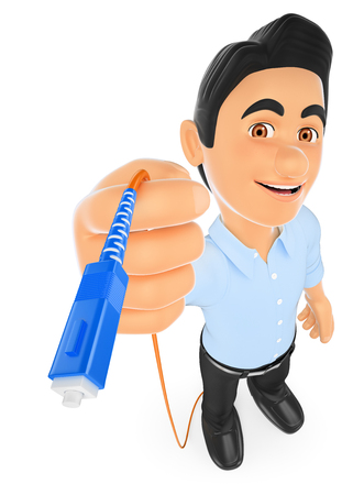 connectors: 3d working people illustration. Information technology technician connecting a optical fiber cable. Isolated white background.