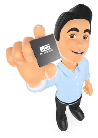 microprocessor: 3d working people illustration. Information technology technician showing a microprocessor. Isolated white background. Stock Photo
