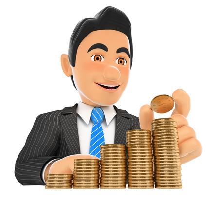 3d ilustración de la gente de negocios. El hombre de negocios que pone una moneda en la escalera de dinero. el crecimiento del capital. fondo blanco aislado.
