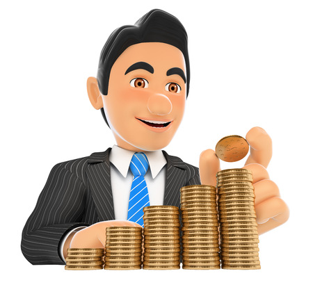 3d business people illustration. Businessman putting a coin in money staircase. Capital growth. Isolated white background.