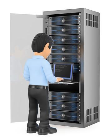 3d ilustración de las personas que trabajan. técnico de tecnología de la información que trabajan en la sala de servidores de red en rack. fondo blanco aislado.