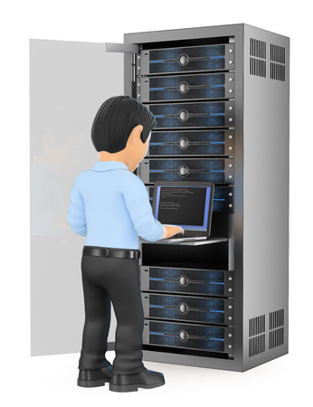information  isolated: 3d working people illustration. Information technology technician working in rack network server room. Isolated white background.