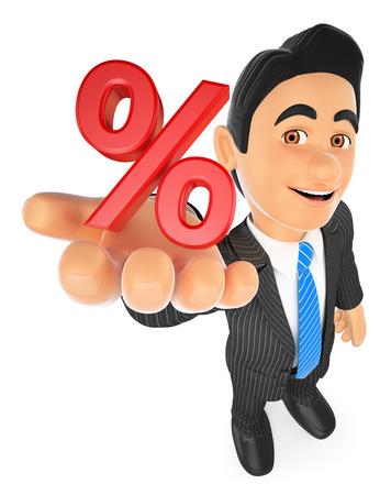 Illustration des gens d'affaires 3d. Homme d'affaires en signe de pourcentage. Concept de vente. Fond blanc isolé.