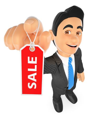 white background: 3d business people illustration. Businessman showing a tag with the word sale. Isolated white background. Stock Photo