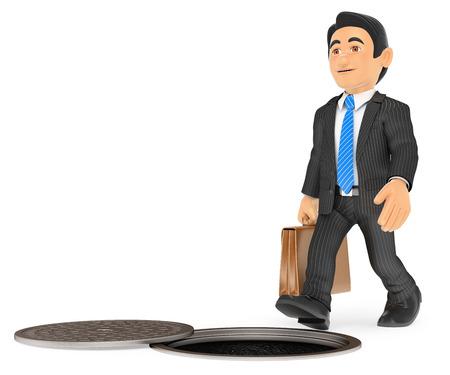 3d ilustración de la gente de negocios. El hombre de negocios a punto de caer por una alcantarilla abierta. riesgos laborales. fondo blanco aislado.