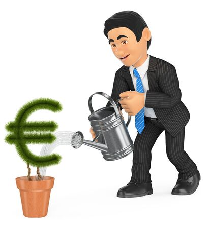 plant growth: 3d business people illustration. Businessman watering euro shaped pot plant. Growth concept. Isolated white background.