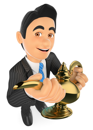 3d business people illustration. Businessman with a wonderful lamp. Lucky concept. Isolated white background.