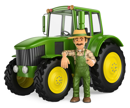 3d working people illustration. Farmer leaning on tractor with thumb up. Isolated white background. Archivio Fotografico