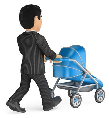 3d ilustración de la gente de negocios. Negocios que empuja un cochecito de bebé. fondo blanco aislado. Foto de archivo
