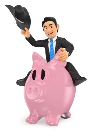 3d business people illustration. Cowboy businessman riding a piggy bank. Isolated white background.
